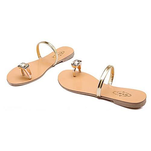 - Women's Lightweight Flat Flip Flops Slip On Toe Ring Crystal Rhinestone Low Heel Slide Sandals Gold