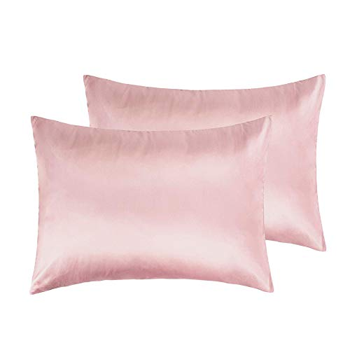 IUNIQEE Satin Pillowcase, Set of 2 Super Soft Luxury Anti Wrinkle Silky Pillow Cases with Hidden Zipper for Hair and Skin (Rose Pink, Standard 20