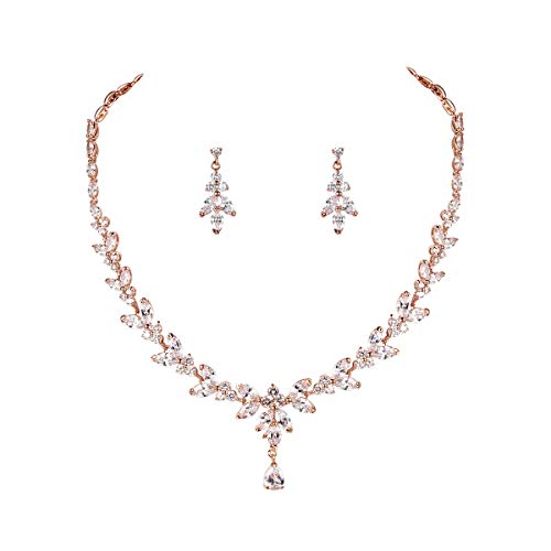 WeimanJewelry Silver/Gold Plated Women Cubic Zirconia Round CZ Marquise Teardrop Bridal Necklace and Drop Earring Set for Bride Wedding (Rose Gold)