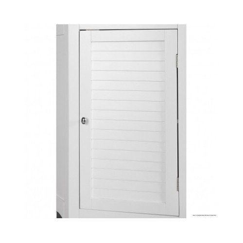White Corner Floor Storage Cabinet With Shutter Door Bathroom Import It All