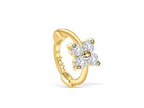 14K Solid Gold Jewelry Cz Flower Tragus Cartilage Snug Rook Daith Helix Ear Segment Clicker Hoop Ring Piercing Earring For Women