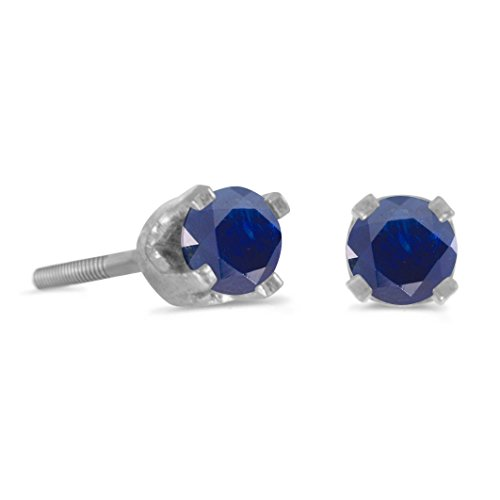 3 mm Petite Round Sapphire Screw-back Stud Earrings in 14k White Gold by sendmyjewelry