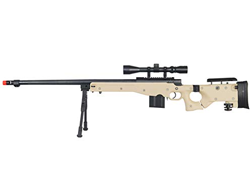Well MB4403 Rifle de francotirador Airsoft con visor y bípode - Tan