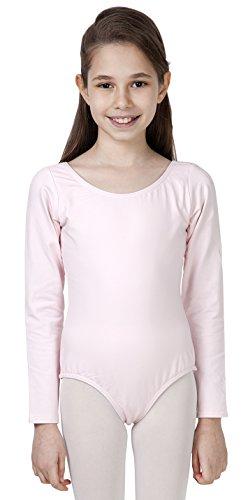 CAOMP Girls' Classic Long Sleeve Leotard for Gymnastics Dance Ballet Organic Cotton Spandex