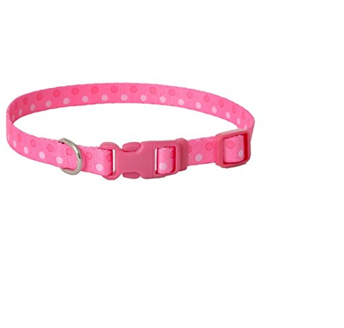 Coastal Pet Products DCP6421PDT Nylon Pet Attire Adjustable Pattern Dog Collar, Small, Polka Dot Pink