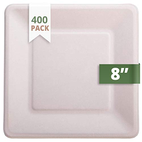 CaterEco Bagasse Compostable Disposable Plates (400 Count) | 8