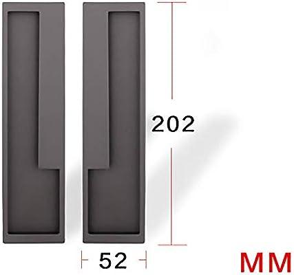 SUPRIEE-hm - Tirador de Puerta corredera Minimalista para Puerta corredera Invisible Plegable para Puerta de Armario empotrada Oculta, Metal, Gris Oscuro, 202×52mm: Amazon.es: Hogar