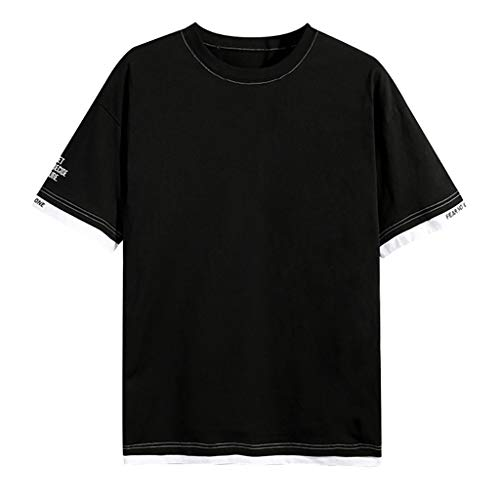 - Hoolick,Fake Two Short Sleeves,Casual Short Sleeve Shirt for Men,Fashion Top Black