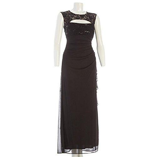 R&M Richards Cutout Lace Gown with Side-Drape, Black, Size 6