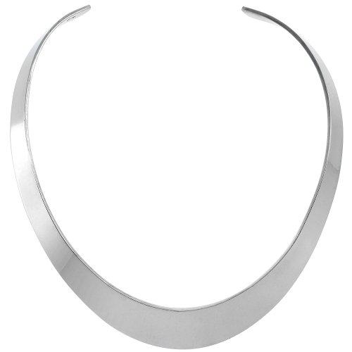 Sterling Silver Choker Collar Necklace Oval shape Handmade 11/16 inch wide by Sabrina Silver