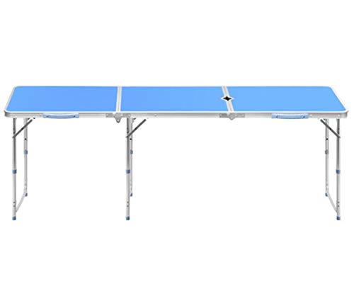 Outdoor Folding Table Barbecue Dinner Portable Multifunction Open 1.8m, Fold 60x60cm, With Umbrella Hole Aluminum Alloy -