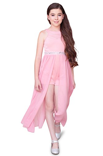 Emerald Sundae Girls Illusion Halter Maxi Romper Dress, Pink, Size 16 by Emerald Sundae