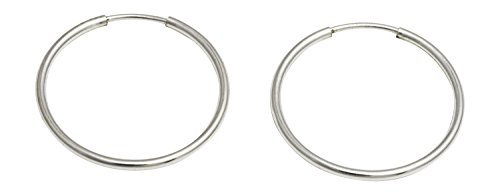 Sterling Silver Continuous Endless Wire Hoop Earrings (1mm Tube) (22mm)