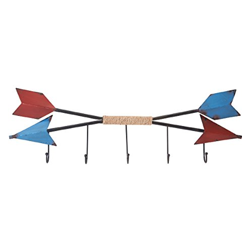 Elements Rustic Metal Arrow 5-Hook Wall Mounted Coat Rack, Red/Blue (Arrow Element)