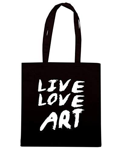 Borsa Shopper Nera ENJOY0126 LIVE LOVE ART