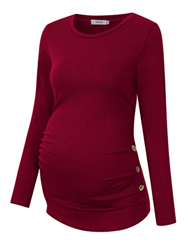 Coolmee Maternity Shirt Side Button and Ruched Maternity Tunic Tops Maternity Long Sleeve T-Shirts (S,Burgundy -Long)