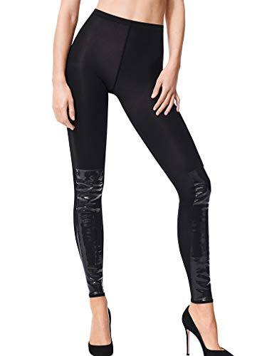 Wolford Barbara Velvet Footless Tights-Large-Black/Black (Footless Wolford Leggings)