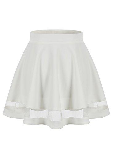 Taille Wedtrend Courte Jupe vase Patineuse Basique S Plisse Mini Femme XXL Elastique Fille Jupe Blanc Rtro xRx7frqw