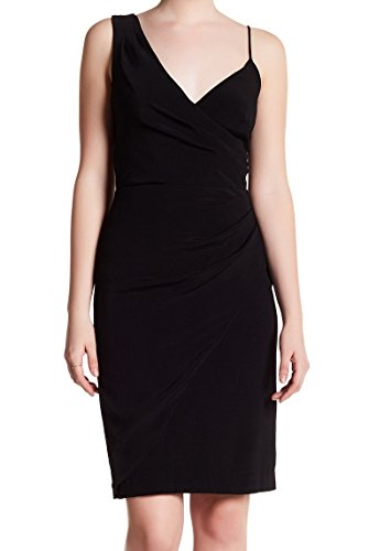 Nicole Miller Women's New Satin Back Crepe Asymetrical Dress, Black, 10