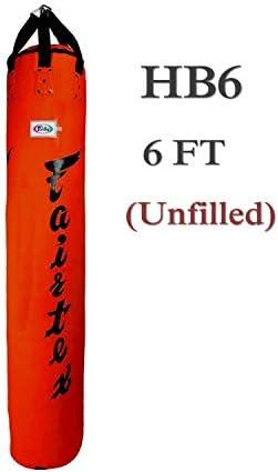 Fairtex ヘビーバッグ HB6 6フィート バナナムエタイ キックボクシング K1 MMA ファイティング 詰め物なし (レッド)