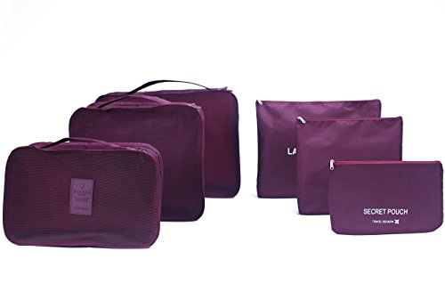 6 sets travel Organizers Packing Cubes Luggage Organizers Compression Pouches(Wine red) (Wine Duffle Set)