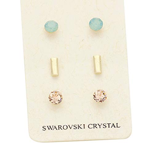 Rosemarie Collections Women's 3 Pairs Pretty 7mm Stud Earrings Made with Swarovski Crystals (Metal Bar) ()