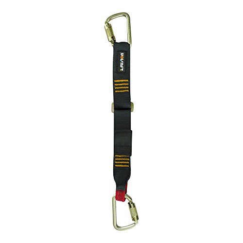 Fusion Climb 3ft 36''x1.75'' Adjustable Fall Safety Zipline Lanyard with Steel Carabiners 23kN Black by Fusion Climb