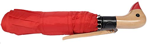 totes Auto Open Neverwet Wooden Duck Handle Umbrella, Color RED ~ 42″ Arc