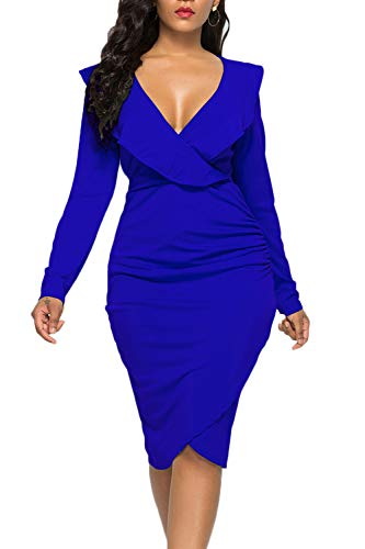 WIWIQS Women's Sexy Ruffle Long Sleeve Plus Size V Neck Bodycon Party Mini Club Dress,Blue Long Sleeve,3XL]()