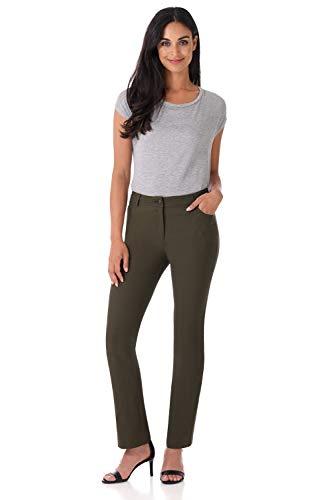 (Rekucci Women's Iconic Stretch 5 Pocket Straight Leg Pant w/Zipper Closure (4,Olive))