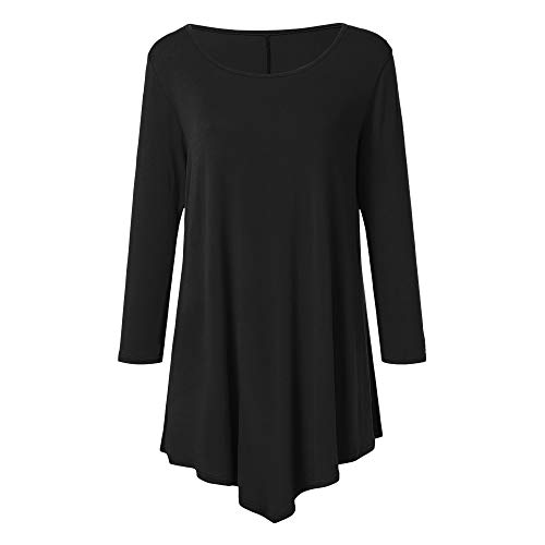 Chaofanjiancai Women 3/4 Sleeve O Neck Solid Pullover Casual Loose T-Shirt Tops Blouse
