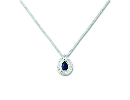 Blanc Et Or - Femme - Collier Or - Saphir et Diamants - Reference : MN501GSB4
