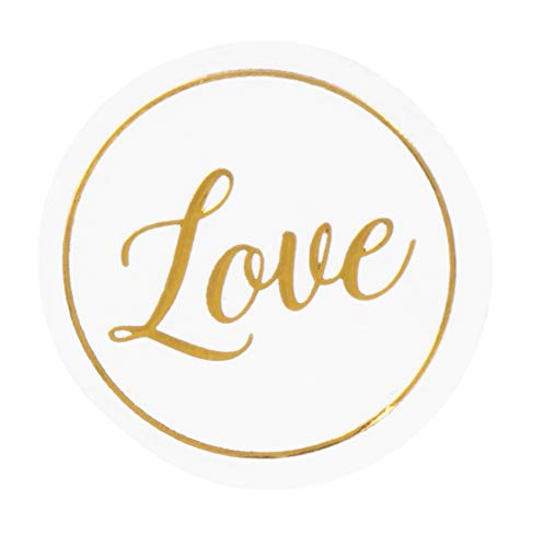 Clear Stickers - 200-Count Wedding Stickers, Gold Envelope Seal Stickers with Love, Adhesive Label for Bridal Shower Invitation, Wedding Invite, Birthday Card, 1 Inches Diameter]()