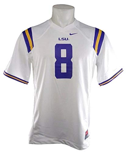 13 White Replica Football Jersey - LSU Tigers Number 8 Youth Replica Football Jersey- White (White, XL 13-15Yrs)