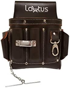 LAUTUS Top Full Grain Leather Tool Pouch Bag Electrician Contractor, Electric Bag 10 Pockets 100 LEATHER