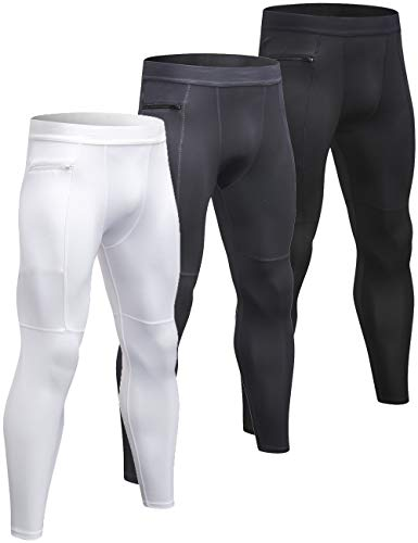 (Lavento Men's Compression Pants Pocket Baselayer Cool Dry Ankle Leggings Active Tights (3 Pack-3910 Black/Gray/White,Large))