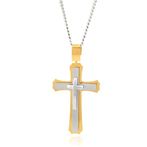 Cross Necklace for Men & Women with Large Pendant and 24 Inch Curb (Catholic Religious Jewelry)