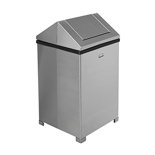 Rubbermaid Commercial FGT1414SSPL WasteMaster Steel Hinged-Top Indoor Utility Trash Can with Plastic Liner, 14-Gallon, Stainless Steel