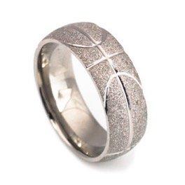 Mens titanium ring basketball wedding band satin finish comfort fit