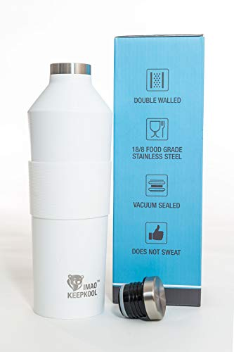 - IMAO KeepKool Wine Flask - 750ml Stainless Steel Wine Growler - 25oz Double Wall Vacuum Insulated Wine Bottle - Wide Mouth Wine Container Comes with a Silicone Grip