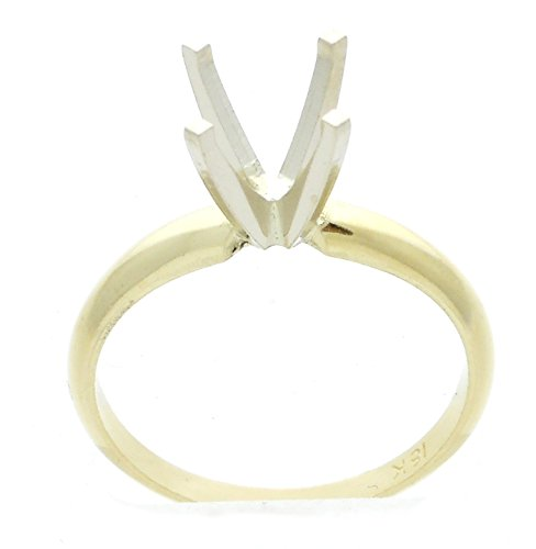(Four Prong Solitaire Engagement Ring Setting Semi Mount Classic 18K Two Tone Gold For 1.50 Ct Round)