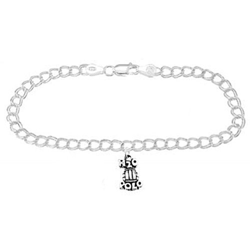 Sterling Silver H2o Water Polo on 4 Millimeter Charm Bracelet (8 Inches) (Water Polo Charm Bracelet)