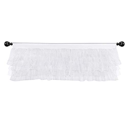 (Fulu Bro Sheer White Tulle Tutu Valances - Layered Ruffle Valance for Kitchen Windows for Bathroom Bedroom Baby Girl Kids Nursery Room Window 52 × 16 inch )
