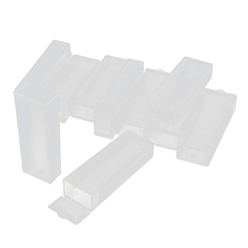 uxcell 10Pcs Plastic Rectangle Microscope Glass Holder Slide Box for 5 (Glass Slide Holder)