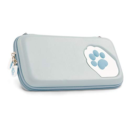 Geekshare Blue Cute Cat Paw Case for Nintendo Switch – Portable Hardshell Slim Travel Carrying Case fit Switch Console & Game Accessories – Adjustable and Removable Shoulder Strap