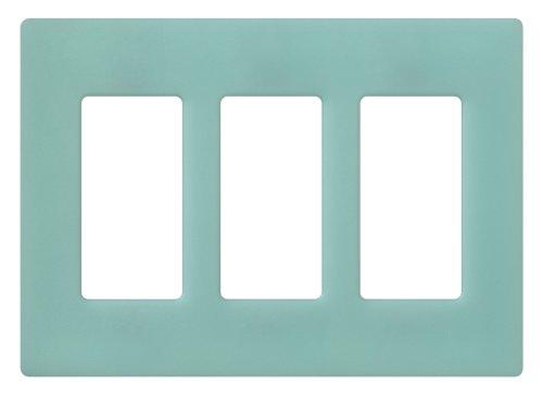 Lutron SC-3-SG Claro Three-gang Wallplate Sea (Glass Switchplate)