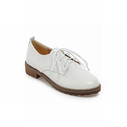 Show Shine Womens Fashion Low Chunky Heel Oxfords Flats Shoes White ZGaghl4