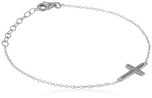 Sterling Silver Sideways Cross Bracelet, 6.25'' + 1.2'' Extender by Amazon Collection