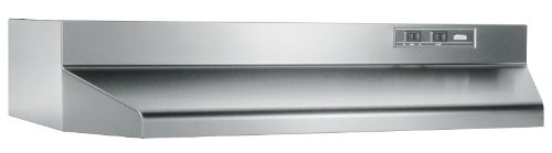(Broan Convertible Range Hood Insert with Light, Exhaust Fan for Under Cabinet, Stainless Steel, 6.5 Sones, 160 CFM, 36
