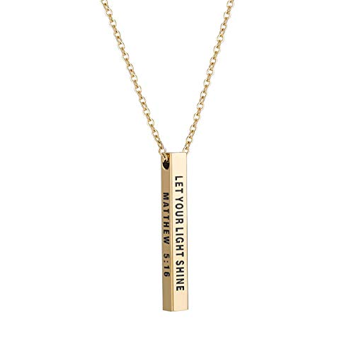 Bar Necklace Four Sided Engraved Inspirational Necklace Let Your Light Shine Pendant Graduation Necklace Gift